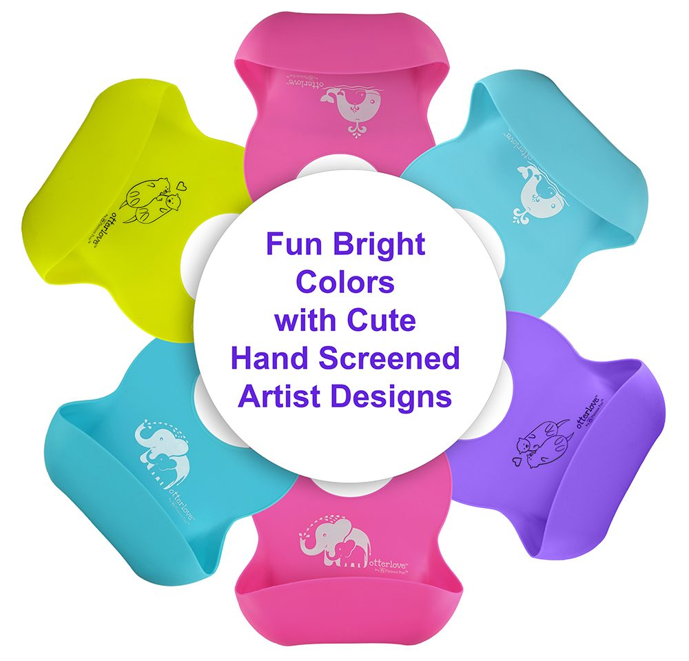 Fun Bright Colors With Hand Screened Artist Designs - otterlove Silicone Bibs