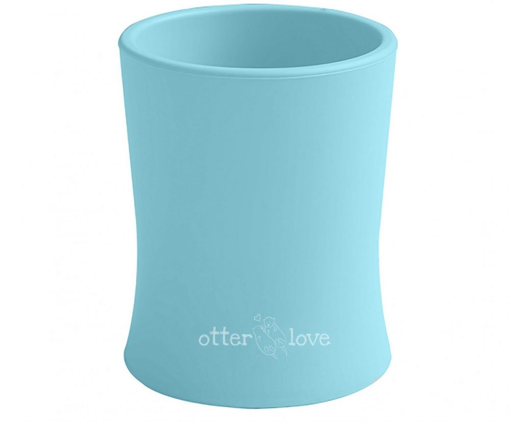 natural grip silicone baby cup tiny toddler training cup - blue